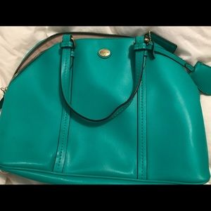 Green coach purse with extra strap